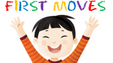 """Drawing of a happy child with the words """"First Moves"""" above him in crayon"""