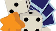 Logo of the Roll 'em Bones organization, with an orange meeple, two dice, some cards, and some hex tiles