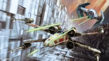 Image of two ships from Star Wars chasing each other.