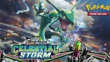 Rayquaza coils in the center of an image that has the logo for Celestial Storm at the bottom and the logo for the Pokémon TCG at the top