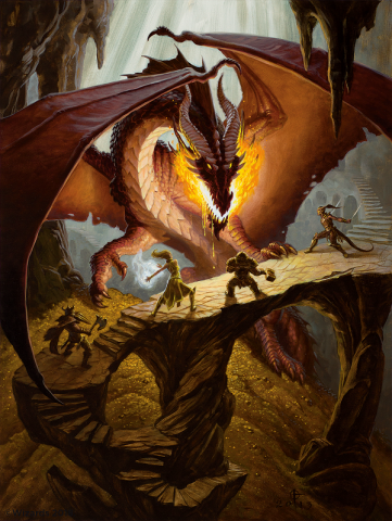 Adventurers face off against a fire-breathing dragon